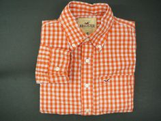 HOLLISTER mens Shirt sz M orange plaid Free Shipping LS medium long sleeve #Hollister #ButtonFront