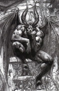 "a modern interpretation of Lucifer after Christianity became the dominant religion and paganism became outlawed or deeply frowned on: ""Lucifer on the throne in Paradise Lost"" by Simon Bisley Simon Bisley, Arte Horror, Horror Art, Dark Fantasy, Fantasy Art, Satanic Art, Arte Obscura, Creation Art, Demon Art"