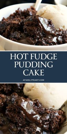 Hot Fudge Pudding Cake is a delicious. Hot Fudge Pudding Cake is a delicious vintage recipe that everyone absolutely loves! A fudge sauce forms under a rich chocolate cake as it bakes in the oven. Smores Dessert, Bon Dessert, Dessert Dips, Köstliche Desserts, Pudding Desserts, Simple Pudding Recipes, Plated Desserts, Pudding Ideas, Dinner Dessert