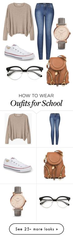 """""""School #12"""" by dairygrunt02 on Polyvore featuring MANGO, 2LUV, Converse, See by Chloé and FOSSIL"""