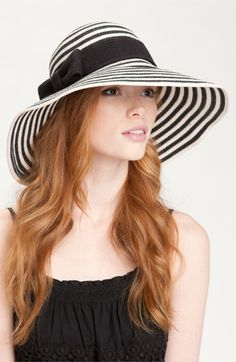 I would definitely wear this Kate Spade New York 'sun stripe' floppy hat at the horse races!