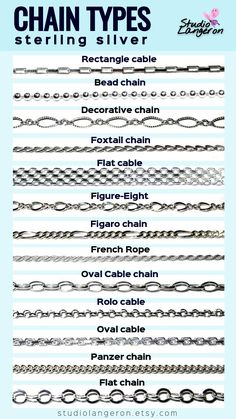 Gothic Jewelry Box Diy Sterling Silver Chain Types by StudioLangeron. We also produce filled and solid gold chains. More jewelry supplies you can see in our shop Cleaning Silver Jewelry, Silver Jewelry Box, Gothic Jewelry, Crystal Jewelry, Boho Jewelry, Beaded Jewelry, Silver Ring, Silver Bracelets, Silver Earrings