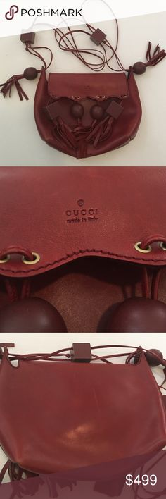 Gucci vintage rare bag Stunning unique bag burgundy color in great condition inside super clean it has a wood attachments leather is soft Gucci Bags