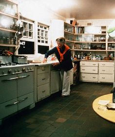 Katherine Hepburn in the kitchen of her home in Old Saybrook, CT. The house was built in the late 1930's although the waterfront land had been in the Hepburn family since 1913. Sold and extensively remodeled after her death.
