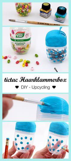 Cooler Life Hack: So einfach könnt Ihr Euch aus einer Tic Tac Dose eine Haarklammer Box upcyceln. Wählt eine coole Acryl Farbe (z.B. gold oder Türkis) und schon kann das DIY Upcycling losgehen!