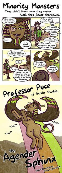 Minority Monsters–Professor-Puce-the-Agender-Sphinx By Tab Kimpton