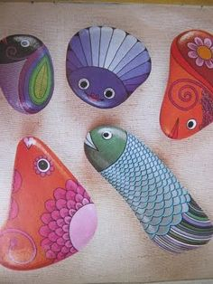 Painted rocks. Many moons ago I painted a cockatiel's head on a stone for my mother-in-law. She still carries it.