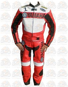 Motorcycle Yamaha Red Race Men leather 2-PC Suit