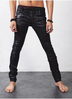 Mens Wax Coated Real-Skinny Biker Jeans at Fabrixquare
