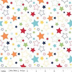 Riley Blake Designs - Cotton Stars - Stars in Rainbow