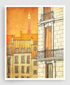 PARIS WINDOWS  Paris illustration - Fine Art Print signed by the artist    ● SIZES: 5x7 to 20x30 inches with a 1/4 white border  ● PRINT: Professionally