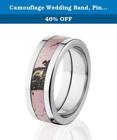 Camouflage Wedding Band, Pink Breakup Camo Rings, Mossy Oak Camo Rings. You will love this 8 mm Pink Breakup Camo Rings & Bands with a deluxe comfort fit. Certain ring sizes are limited so be sure to get yours today. This Pink Camo wedding ring is available in different millimeter widths as well. Don't forget our Internet Five Star Warranty.