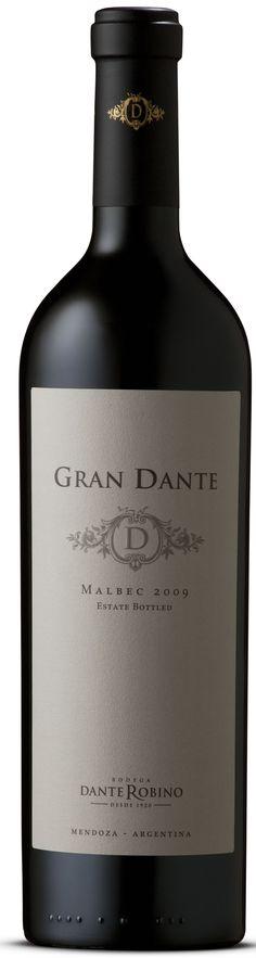Malbec 2010 *Gran Dante* - Bodega Dante Robino, Luján de Cuyo, Mendoza, Argentina -------------------------- Terroir: Perdriel (Luján de Cuyo) - Mendoza, Argentina ------------------------- Crianza: 18 meses en barricas de primer uso de roble americano Tropical Drink Recipes, Malbec Wine, Spanish Wine, Wine Label Design, Whiskey Drinks, Wine And Liquor, Beverage Packaging, Vintage Wine, Sparkling Wine