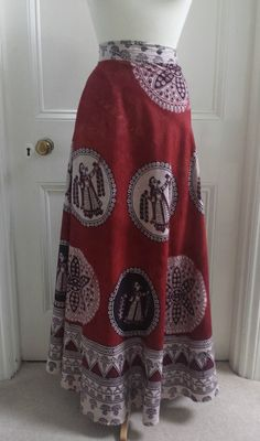 Vtg 70s Wrap Around Maxi Skirt Bohemian Hippie India Boho Ethnic Cotton 10 12 14