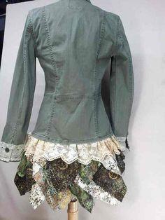 Upcycled khaki Jacket with Antique Lace and von CuriousOrangeCat, $95.00