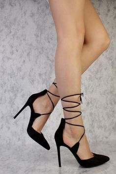 Go out looking sexy with these sexy and stylish single sole high heels and a must have this season! The features include a suede upper with a pointed closed toe, strappy criss cross lace up ankle tie design, smooth lining, and cushioned footbed. Approximately 4 3/4 inch heels. #anklestrapsheelsclosedtoe