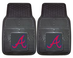 Protect your vehicle's flooring while showing your team pride with this pair of car mats by FANMATS. 100% vinyl construction with non-skid backing ensures a rugged and safe product. Universal fit make