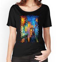 Mysterious Man at beautiful Rainbow Place Women's Relaxed Fit T-Shirts @pointsalestore #tee #tshirt #clothing #painting #abstract #drawing #ink #art #tardis #doctorwho #phonebox #phonebooth #badwolf #starrynight #vangogh #halloween #bluephone #timemachine #timetraveller #davidtennant #timevortex #strangecity