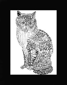 Personalized Word Art   Cats by budakitty on Etsy, $55.00