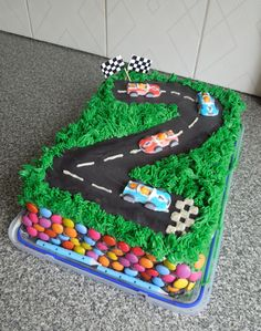 Racing car birthday cake. Easy and yummy buttercream icing!