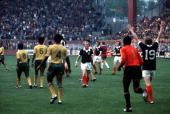 Football 1974 World Cup Finals Dortmund Germany14th June 1974 Scotland 2 v Zaire 0 Scotland's Billy Bremner happy at the end of the game
