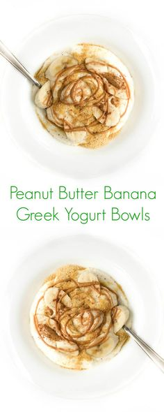 Peanut Butter Banana Greek Yogurt Bowls – The Lemon Bowl – food Ingredient Mediterranean Breakfast, Mediterranean Diet Recipes, Superfood, Healthy Snacks, Healthy Eating, Lemon Bowl, Yogurt Bowl, Yogurt Melts, Vegan Yogurt