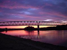 The Ohio River Bridge as seen from Marietta, Ohio at sunrise.