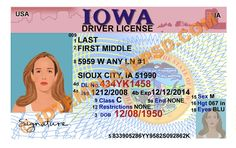 This is Iowa (USA State) Drivers License PSD (Photoshop) Template. On this PSD Template you can put any Name, Address, License No. DOB etc and make your personalized Driver License.  You can also print this Iowa (USA State) Drivers License from a professional plastic ID Card Printer and use as per your requirement.