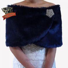 Wedding Fur Shrug Bridal Faux Fur Wrap Navy by MyRadiantBeauty Wedding Fur, Rustic Wedding, Shrug For Dresses, Long Dresses, Faux Fur Stole, Faux Fur Wrap, Fur Cape, Bridal Shawl, Blue Bridal