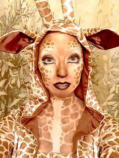 giraffe kostüm ideen make up fasching gesicht dekoltee #fasching #carnival