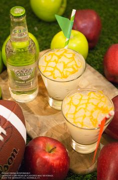You know you're Gameday Ready when your #drink is more icy than your rivalry. Blend up this delicious drink for the big game in #NYC EasyDrinks  Recipe BIG APPLE RIVALRY: Blend two cups of ice cubes and a bottle Smirnoff ICE Green Apple in a blender until slushy. Drizzle caramel syrup over the top. Serves two rivals. #cocktails