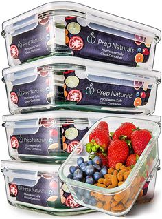 Prep Naturals Glass Meal Prep Containers - Food Prep Containers with Lids Meal Prep - Food Storage Containers Airtight - Lunch Containers Portion Control Containers Bpa-Free Ounce) Meal Prep Containers, Meal Prep Bowls, Easy Meal Prep, Food Storage Containers, Kitchen Containers, Glass Containers, Vegetarian Meal Prep, Healthy Meal Prep, Healthy Fridge