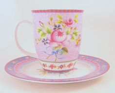 SOLD Katie Alice Porcelain Cup & Saucer Tea Coffee Rose Motif  #KatieAlicePorcelainCollection  For those quiet moments of reflection and feeling feminine!