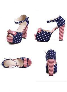 Blue Pumps / High Heels - US Flag Print High Heel