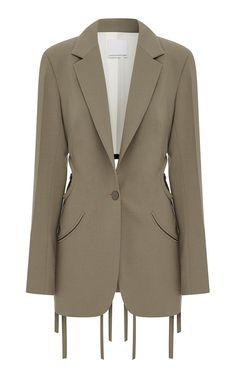 Tie-Detailed Cutout Wool-Blend Blazer by Christopher Esber Christopher Esber, Colored Blazer, Mantel, Blazers, Wool Blend, Jackets For Women, Women's Jackets, Fashion Dresses, Street Style