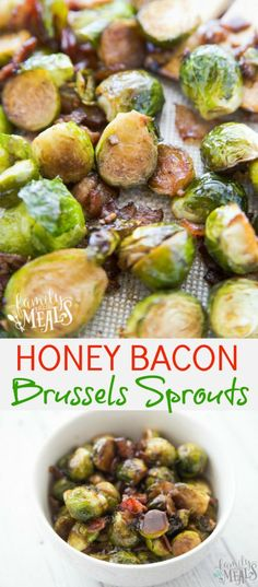 The Honey Bacon Brussels Sprouts are tossed with a mixture of olive oil, balsamic vinegar, bacon, and garlic, roasted until they're tender. Bacon Recipes, Vegetable Recipes, Cooking Recipes, Healthy Recipes, Turkey Recipes, Easy Recipes, Healthy Food, Healthy Eating, Recipes