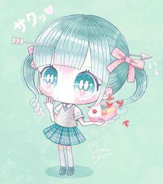 First Love by ShimaMinami Dibujos Anime Chibi, Cute Anime Chibi, Kawaii Anime Girl, Blondes Anime Girl, Chibi Girl, Kawaii Stationery, Cute Eyes, Anime Dolls, Kawaii Art