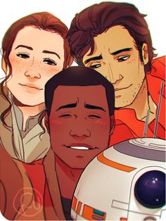 rey, finn, and poe in the force awakens by tumblr user french-unicorn