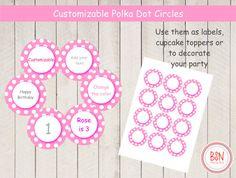 DESCARGA INMEDIATA 2 inch circulos rosas con lunares blancas, cupcake toppers, etiquetas para regalos o productos