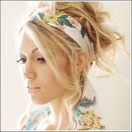 hair updo with scarf