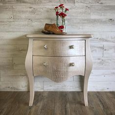 Artisan Enhancements Pearl Plaster was pushed through the Croc stencil to create the fabulous textured finish on this bombe chest by Sublime Decor in New Zealand!