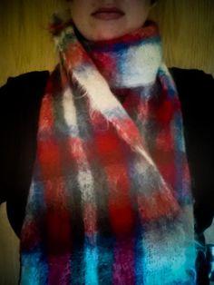 Scarf Scottish mohair wool plaid unisex LONG