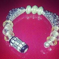 1 Handmade Silver tone Bangle With European Beads. Starting at $15 on Tophatter.com!
