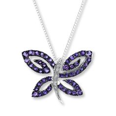 AMETHYST BUTTERFLY NECKLACE WITH DIAMONDS STERLING SILVER Kay Jewelers