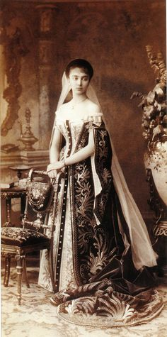 Princess Elizabeth Nicolaievna Obolensky ca. 1890 in the court dress of Russia while lady in waiting