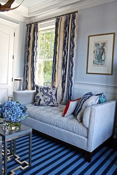 Pearson guest suite at Hampton Designer Showhouse  #livingroom #interiordesign #decor #interior #furniture #couch #rug #drapes #curtains