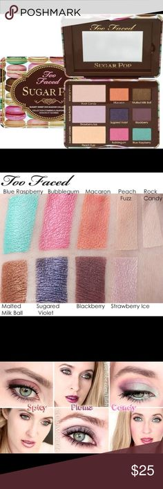 TOO FACED SUGAR POP Pallet Too Faced (new unused) Form:Powder Finish:Glitter Features:Palette Give eyes some sugar with our colorful palette of nine deliciously enticing, shimmer and glitter shadows in vanilla, chocolate and candy colors Too Faced Makeup Eyeshadow