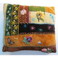 vintage crazy quilt pillow - velvet patchwork and embroidery, floral, bohemian, handmade - unique. $26.95, via Etsy.