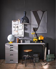 Kids Locker Style Desk in Hertog Grey by Woood | Encourage hard work with this industrial style study space!