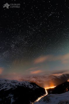 ~~The Beauty Above ~ near the town of Dillon, Loveland Pass, Colorado by Mike Berenson - Colorado Captures~~ //So very beautiful EL// Mountains At Night, Rocky Mountains, Beautiful World, Beautiful Places, Beautiful Pictures, Places Around The World, Around The Worlds, Winter Wallpaper, Christmas Wallpaper